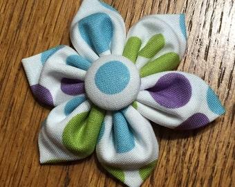 Fabric Flower Hair Bow with Alligator clip - Purple, Blue & Green Polka Dot