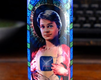 Saint Marty McFly Michael J. Fox Prayer Candle - Back to the Future