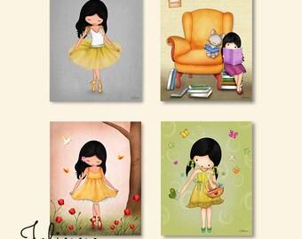 Set of 4 prints for kids room, illustrations, nursery drawings, Nursery art prints baby nursery decor kids art children wall art ballerina