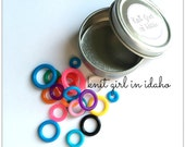 Loops - Rainbow - Bright - Colorful - Round Stitch Markers with/without Tin (Set of 20)
