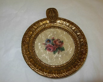 Small Vintage Petit Point Ashtray, Needlepoint, Can Be Used For a Ring or Jewelry Keeper