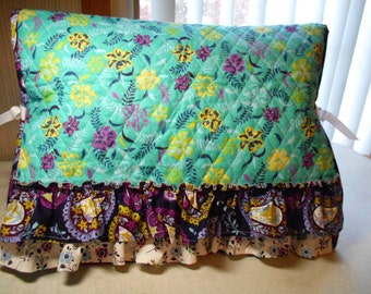 Sewing Machine Cover-Aqua Flower Quilted Fabric with Colorful Ruffles- Handmade