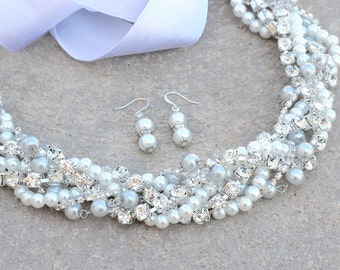Bridal Necklace, Bridal Pearl Necklace, Bridal Rhinestone Necklace, Adjustable Ribbon Wedding Necklace, Pearl and Crystal Bridal Necklace