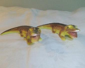 "Salt Pepper Shakers, Novelty Alligator Crocodile, Made in Japan, 5.25"""