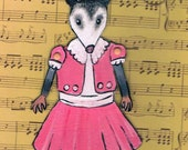 Opossum, Possum Paper Doll, One of a Kind , Collectible Art Doll, Valentine's Day, Gift tag, Wrapping decor