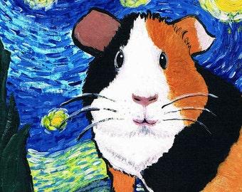 Original Acrylic Painting of Van Gogh's Starry Guinea Pig SFA  OOAK