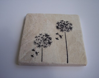 Dandelion tumbled marble Table beverage coasters Hand stamped set of four