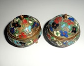 Set of Two Small Trinket Bowls with Lids Metal with Enamel Painted Flowers  Earring Box Ring Box Trinket Box