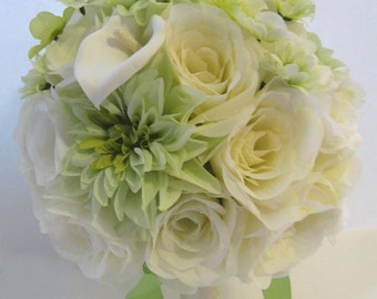 "Wedding flowers silk Bridal bouquets GREEN Cream CALLA LILY Daisy 17 Piece package Artificial bouquet Bride arrangements  ""RosesandDreams"""