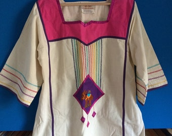 Vintage irene pulos mexican embroidered tunic