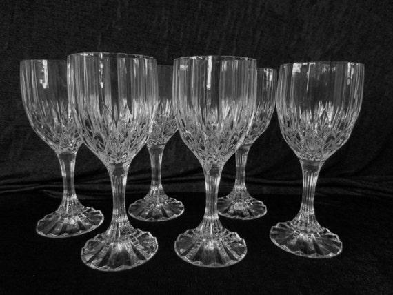 beautiful set of 6 cristal d 39 arques durand bretagne wine. Black Bedroom Furniture Sets. Home Design Ideas