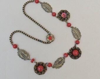 Antique Art Deco Brass Leaf Necklace . As - Is
