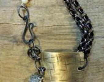 Decorative Plate Bracelet w/Natural Stones