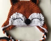 Fox, Foxes, Sleeping Fox, Fox Hat, Foxy Hat, Fox Eyes Hat, Eyelash Hat, Woodland Fox Hat ALL sizes from Newborn  to Adult
