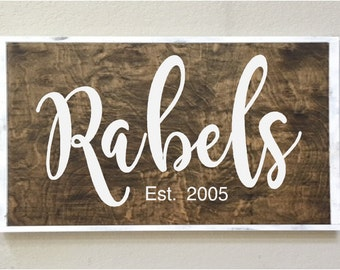 large handpainted sign on wood- personalized- name- wedding gift- married- family