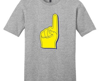 Yellow and Blue Foam Finger - Sports T-Shirt