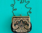 Vintage Purse with Floral Design and Chain Strap