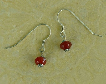 Faceted CARNELIAN Earrings with Sterling Silver