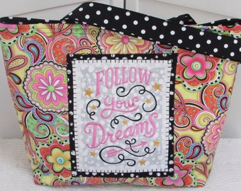 Pink and Yellow Whimsical Floral Large Tote Bag Funky Floral and polka dot purse Follow your Dreams Shoulder Bag Ready To Ship
