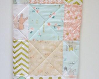 Gold Metallic Modern Baby Quilt-Woodland Bunny Rabbit-Glitz-Art Gallery Fabrics-The Littlest-Baby Patchwork Blanket-Crib Bedding