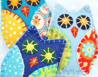 Felt owl ornaments, Set of 3 handmade felt owl decorations, Bright colourful owls, Patchwork owls, Christmas ornaments, felt bird ornaments