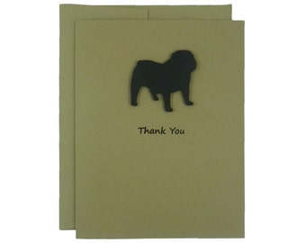 Bulldog Thank You Card Single Card or 10 Pack Dog Thank You Card Dog Greeting Cards Bulldog Card Bulldog Lover Bulldog Gift Greeting Card
