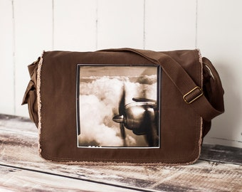 Come Fly With Me - Messenger Bag - School Bag - Java Brown - Canvas Bag