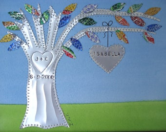 10 Year Anniversary Gift Ten Year Anniversary Gift Hearts Family Tree Personalized Engraved Dates and Names Stamped