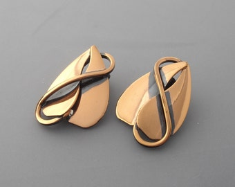 Copper Earrings, Copper Leaf Earrings, Copper Heart Earrings, Copper Vine Earrings