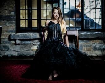 Gothic Formal Black Mermaid Styled Corseted Bondage Inspired Satin Dress