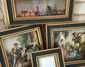 Lovely Collection Of Four Small French Pictures Gold Frames Romantic Homes