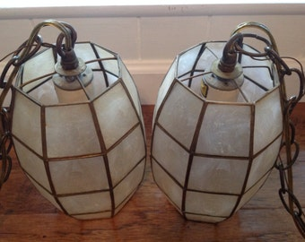Vintage Capiz Shell and Brass Swag Lamp ~ Mid Century Lighting ~ Two Lights On Chains ~ Home Decor and Lighting ~ Hanging Lights ~ 70's