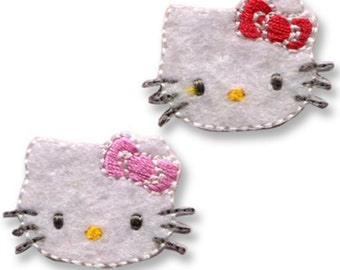 Mini Hello Kitty Patch, Kawaii Sanrio Embroidered Iron On Patch, Japanese Cute Iron on Applique, Made Japan, Embroidery Applique, 2PCS, W208
