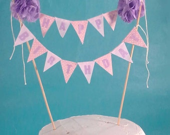 Cake topper, birthday, Pink and Lavender cake Banner E099 - shabby chic cake bunting