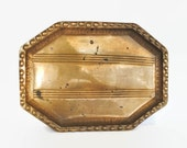 Vintage Brass Beaded Octagonal Oval Mid Century Modern Tray Plate Platter
