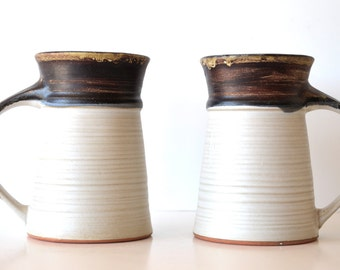 Vintage 1968 Pacific Stoneware Inc Pottery Mugs Set of Two Tall