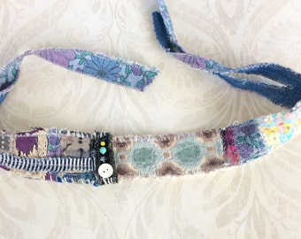 Mixed Media Headband in Blue, Teal, Purple, Upcycled