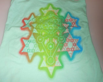 Women's Tank Top - Merkaba Fractal (Rainbow on Mint)