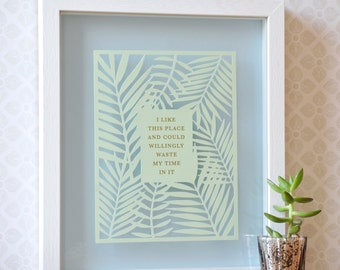 House warming gift papercut with quote, new home housewarming gift, gift for home, paper cut with quote in gold, palm leaf, gold foil