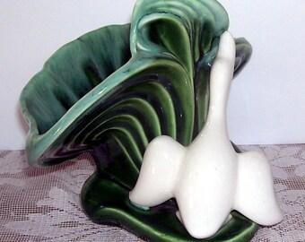 Dark Green Pottery Planter With Flying White Duck, Mid-Century Planter, Modern Planter, Home Decor, Ivy Planter, Lodge Decor,