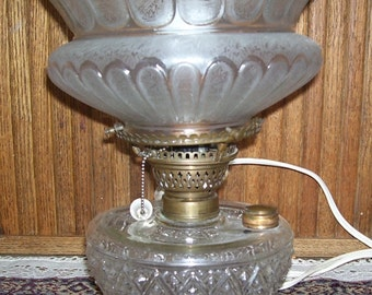 Antique Oil Lamp Converted to Electric, Etched Shade, Pull Chain, Victorian Home Decor, Brass Holder, Rustic Farm Decor