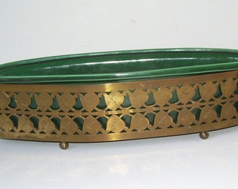 Wilhite Green Planter and Metal Filigree Brass Holder, Footed Holder, Wilhite of California, California Pottery, Oval Dark Green Wilhite