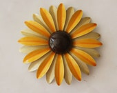 Vintage 1960s Large Enamel Sunflower Brooch