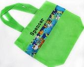 Animal Tote Bag with Monogram Name Embroidered on it, Personalized Bag, Swin Bag, Daycare Bag, Toy Bag, Easter Basket Bag