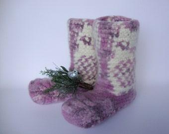 Crochet Booties, Booties, Sleeping Socks, Slipper Socks, Orchid Night Owl Bed Booties, Felted Wool Socks, Women's 8-8 1/2, Men's 7 - 7 1/2