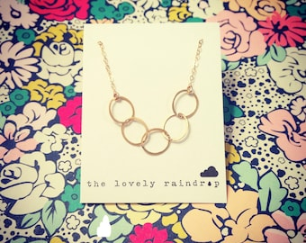 Simplistic Gold Three Circle Eternity Necklace - Dainty Minimal Simple Modern - Everyday Jewelry - Bridal Jewelry Simple Everyday