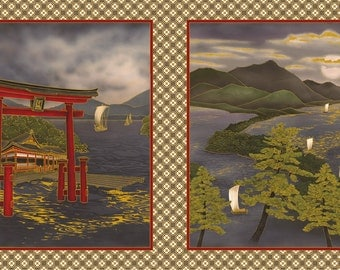 "Nobu Fujiyama Torii Gate Japan Kona Bay Asian Fabric 23"" x 44"" Panel"