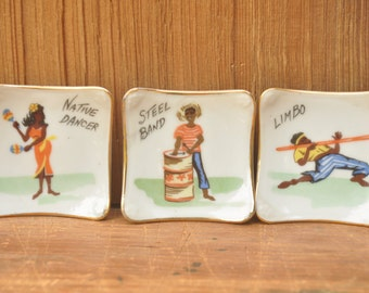 1950s Caribbean Sauce Dishes Mid Century set of 3