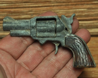 Vintage 1960s Metal Pearl Handle Toy Cowboy Pistol Cap Gun Zee Toys