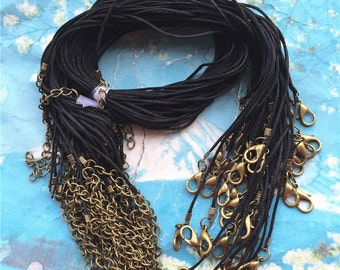 Tiny Bronze finish--100pcs 1mm 16-18 inch adjustable un waxed Soft cotton necklace cords with lobster clasp